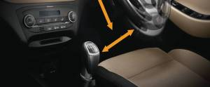 Hyundai Elite i20 interior with gear and steering
