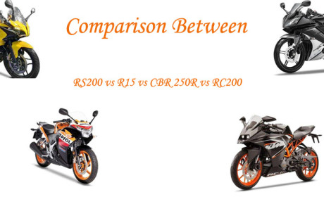 Comparison between – Bajaj Pulsar RS200 Vs KTM RC200 Vs Honda CBR 250R Vs Yamaha YZF-R15