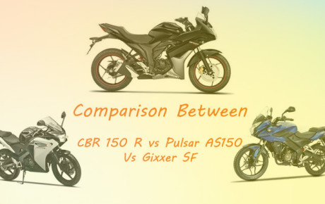 Comparison between Bajaj Pulsar AS150 vs Suzuki Gixxer SF vs Honda CBR 150 R